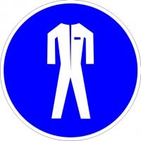 Работать в защитной одежде (200х200 мм) самоклеющ.