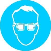Работать в защитных очках (200х200 мм) самоклеющ.