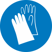 Работать в защитных перчатках (200х200 мм) самоклеющ.