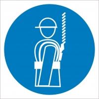 Работать в предохранительном (страховочном) поясе (200х200 мм) самоклеющ.