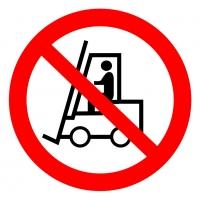 Запрещается движение средств напольного транспорта (200х200 мм) самоклеющ.