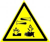 Опасно. Едкие и коррозионные вещества (200х200 мм) самоклеющ.