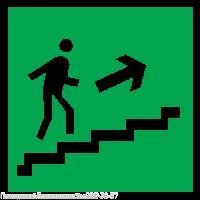 Направление к эвакуационному выходу по лестнице вверх (200х200 мм) самоклеющ.