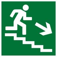 Направление к эвакуационному выходу по лестнице вниз (200х200 мм) самоклеющ.