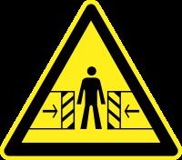 Внимание. Опасность зажима (200х200 мм) самоклеющ.