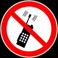 Запрещается пользоваться мобильным (сотовым) телефоном или переносной рацией (200х200 мм) самоклеющ.