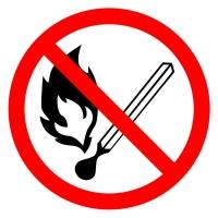 Запрещается пользоваться открытым огнем и курить (200х200 мм) самоклеющ.