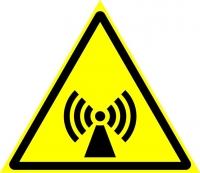 Внимание. Электромагнитное поле (200х200 мм) самоклеющ.